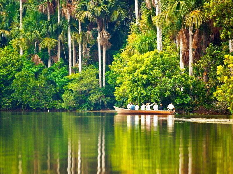 Viajeros navegando por la selva peruana en tambopata