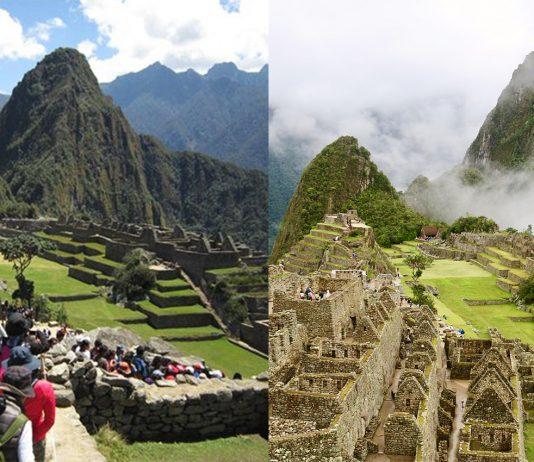 Comparación de dos épocas diferentes de Machu Picchu