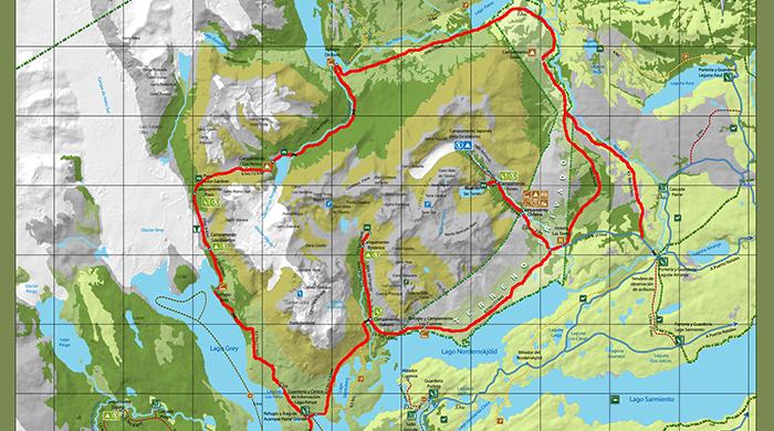 Mapa del circuito O de trekking en Torres del Paine