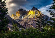 Montaña imponente frente a un bosque