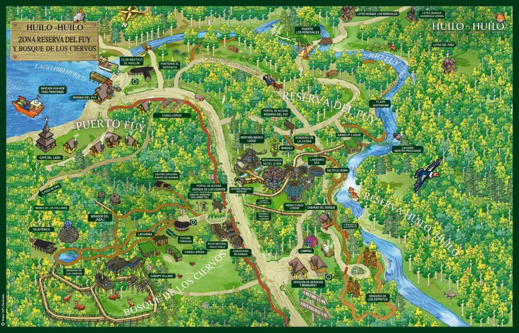 Mapa de reserva biológica huilo huilo