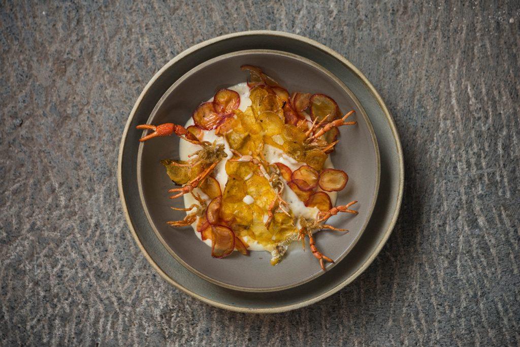 Plato de camarones gourmet