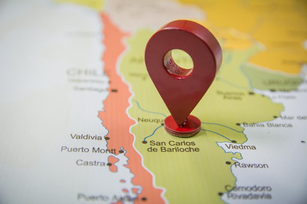Marcador en un mapa de Bariloche